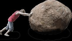 fellow pushing large rock